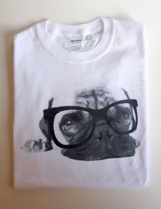 Cute Pug Hipster Glasses Gildan Cotton Tshirt by MisterPug on Etsy, $15.00