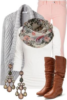 pink skinnys, cognac boots, white t, scarf, and grey cardigan
