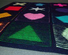 Ravelry: Illusion Shapes Blanket pattern by Steve Plummer Crochet Stitches, Knit Crochet, Illusions, Ravelry, Kids Rugs, Shapes, Pillows, Knitting, Pattern