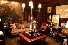 Ralph Lauren: Fern, garden stool, tray on coffee table, modern simple light fixture, monogrammed Pillows, plaids... Layering