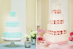 Wedding Cake Tasting Tips From GC Couture | Not coincidentally, a cake with alternating layers of white and Tiffany blue is named Audrey. The structure of the four-tier Whitney cake, inspired by the 1980s, boasts unusual flower detailing.