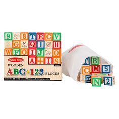 melissa u0026 doug deluxe wooden abc123 blocks set with storage pouch 50pc colors may vary