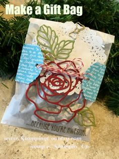 Gift Bag, Rose Garden Thinlits Dies, Botanicals For You, Stampin' Up!