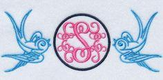 Sparrow Bird Monogram Frame Embroidery Designs | Apex Embroidery Designs, Monogram Fonts & Alphabets