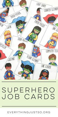 Superhero Classroom Job Cards | http://everythingjustso.org | 25 FREE superhero classroom cards featuring jobs most commonly used in an elementary classroom.