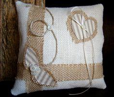 Burlap Ring Pillow Rustic Wedding Ring Pillow Ring by TwiningVines, $35.00