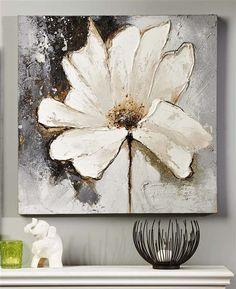 Giftcraft - White Flower Oil Painting on Canvas #OilPaintingFlowers #OilPaintingColorful