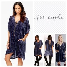"Free People Room Of Shadow Velvet Dress.  NWT. Free People Room Of Shadow Velvet Devore Burnout Shift Dress, 100% rayon,  washable, 25"" armpit to armpit (50"" all around), 32"" front length, 36"" back length, V neckline, pullover style, ties at back, short dolman sleeves, two pockets at front, detachable slip lining, all over velvet, V back, shift silhouette, hits at knee, notched sides, high low hem, measurements are approx.  ...No Trades... Free People Dresses"