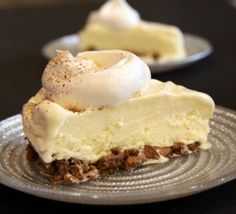 Eggnog Ice Cream Pie  20 finely crushed gingersnaps  Egg Nog ice cream  Whipped topping on top, sprinkled with grated fresh nutmeg