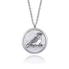 Bird Necklace, Pendant Necklace, Coin Jewelry, Silver Rounds, Black Backgrounds, Pendants, Sterling Silver, Chain, Handmade