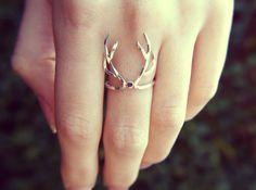 Sterling silver antler ring