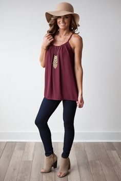 Maroon tank and suede booties