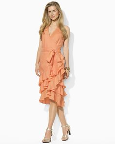 Lauren Ralph Lauren Tiered Ruffle Linen Wrap Dress   (Bloomingdale's)