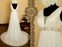 Stunning Empire Style Chiffon Wedding Dress with Delicate Bead Work on on the Waist and Neckline - Little modern, little Greek style but entirely stunning wedding dress with all of her details.  She is great choice for outdoor weddings or pregnant brides.    Lightness of chiffon and elegance of delicate bead work come together in this Greek Goddess style design by LaceMarry, $214.00