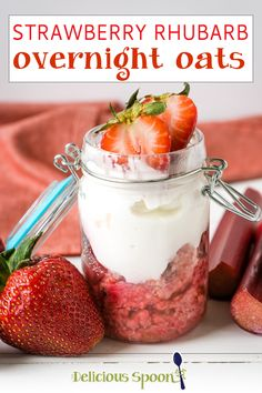 Strawberry Overnight Oats made with fresh spring rhubarb is like strawberry rhubarb pie for breakfast minus the pastry. Sweetened with only a touch of honey and topped with Greek yogurt. You will fall in love with this springtime breakfast treat! Strawberry rhubarb pie is my absolute favourite pie so when rhubarb season hits I grab up all the rhubarb I can while it is in season. | @thedeliciousspoon #springbreakfastideas #howtomakeovernightoats