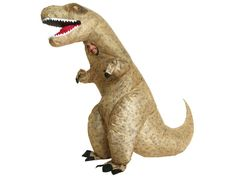 The famous inflatable T-Rex costume. This Halloween you can flop around in this fossilized inflatable T-Rex and have everyone chuckling. Simply step into the costume, zip it up and turn on the fan to inflate. The fan is kept in a small pocket so costume says inflated with ease. Even though he may be a skeleton, this T-Rex will still be the life of the party! Available in: one size fits most (5ft 6in to 6ft 3in) Materials: PVC Batteries not included.