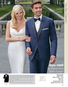 The Blake Tuxedo in Navy- Available at Milroy's!  www.MilroysTuxedos.com