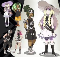 Hau and Lillie 'recruited' into Team Skull- I just had these mix/match designs bouncing around in my head and had to get them out. New Recruits Hau Pokemon, Pokemon Manga, Pokemon Comics, Pokemon Funny, Pokemon Fan Art, Cool Pokemon, Pokemon Fusion, Pokemon Stuff, Team Rocket