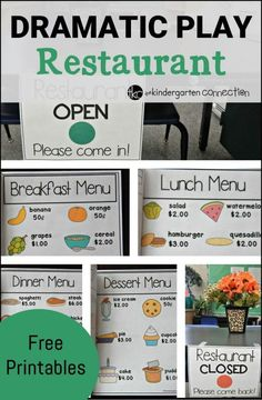 "a blast learning and playing with these dramatic play ""restaurant"" printables and ideas!Have a blast learning and playing with these dramatic play ""restaurant"" printables and ideas! Dramatic Play Themes, Dramatic Play Area, Dramatic Play Centers, Preschool Dramatic Play, Preschool Centers, Preschool Activities, Preschool Classroom, Family Activities, Restaurant Themes"