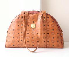 MCM Visetos Cognac Monogram Large Shoulder bag authentic vintage purse by hfvin on Etsy  #mcm  #visetos #brown #monogram #shoulder #handbag #hfvin