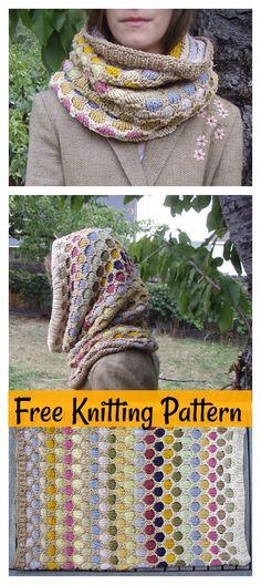 Honeycomb Hooded Cowl Free Knitting Pattern #knittingpatterns #freepattern #cowl
