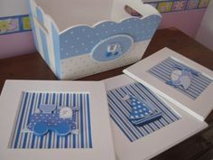 Discover thousands of images about Blue and white square planter with polka dots and check pattern. Cute Crafts, Crafts To Do, Paper Crafts, Diy Crafts, Baby Wall Decor, Kit Bebe, Felt Pictures, Baby Shawer, Baby Cards