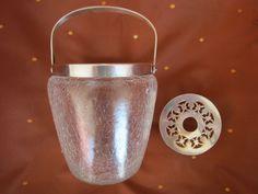WMF Art Deco Eiswürfelbehälter Craqueleglas mit versilberter Montur um 1930