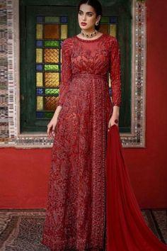 #redsuit Salwar Pants, Churidar Suits, Salwar Kameez, Beige Wedding, Red Suit, Georgette Fabric, Chiffon, Things To Sell, Bridal