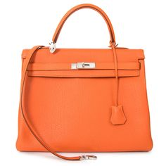 Hermes Orange Kelly 35 Retourne Veau Togo