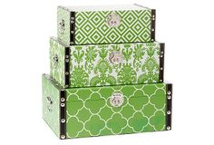 One Kings Lane - Three Essential Accents - Green Design Storage Boxes, Asst. of 3