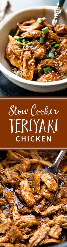Place quick homemade teriyaki sauce and chicken into your slow cooker, set it and forget it! This delicious slow cooker honey teriyaki chicken is so easy. Recipe on sallysbakingaddiction.com