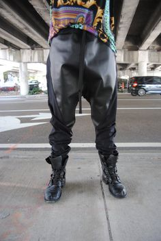 Black on Black Faux Leather Drop Crotch - Harem Pants for Men and Women // Handmade