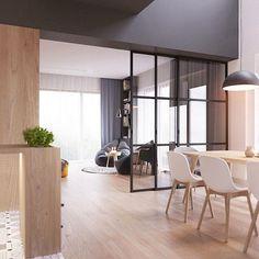 A madeira clara aquecendo o ambiente junto do preto e branco no projeto de ZROBYM Architects (www.inandoutdecor.com.br) #inandoutdecor #zrobymarchitects