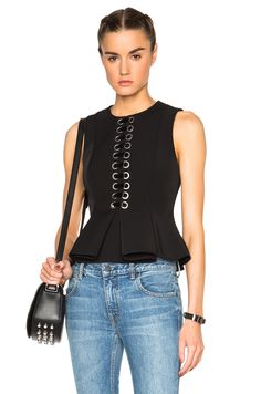 Image 1 of Alexander Wang Front Lace Peplum Top in Onyx