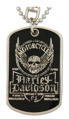 Harley-Davidson Dog Tag, Winged Skull Distressed Chain/Keychain, Silver 8002763