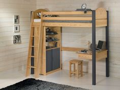 Loft Beds For Small Rooms, Small Room Design Bedroom, Room Ideas Bedroom, Bunk Bed With Desk, Bunk Beds With Stairs, Loft Bed Plans, Awesome Bedrooms, Dream Rooms, Bed Design