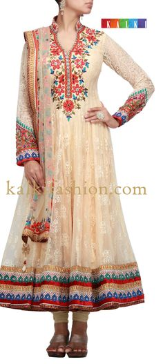 Buy it now  http://www.kalkifashion.com/anarkali-suit-in-cream-with-thread-embroidery.html  Anarkali suit in cream with thread embroidery
