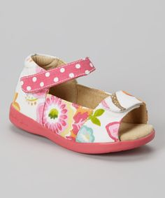 Look at this White & Hot Pink Floral Adriana Sandal on #zulily today!