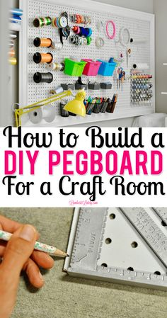 This tutorial for building a DIY pegboard for a craft room shows building installation and organization of a pegboard. See step by step instructions from how to build how to hang and how to make into a gorgeous decor piece! Pegboard Craft Room, Pegboard Organization, Craft Room Storage, Craft Rooms, Organization Ideas, Storage Ideas, Kitchen Pegboard, Organizing Clutter, Craft Desk