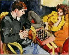 Sandra Fisher Tulio and Noga Playing Chess 1993 oil on canvas, 16 x 20 inches  Collection of Max Kitaj (c) Estate of Sandra Fisher