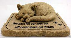 9 INCH CAT MEMORIAL STONE FOR FRIEND COMPANION GARDEN STONE BEREAVEMENT RESIN