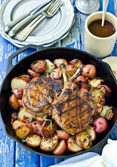 Grilled Pork Chops with Coffee Dry Rub and Coffee BBQ Sauce - to go with the potatoesssss. Must find coffee drinkers willing to part with a little coffee in return for DELICIOUSNESS.