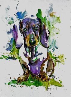 Doxie  Like all our paintings, this painting comes in three sizes: 10X12 @ $25.00 -- 16X20 -- 22X28 @ $145.00. The largest, 22x28, is a limited edition of 350 and is individually numbered. Carol has painted at least 200 images of dogs, cats, children and other subjects. They have the spontaneity and joy that match their subjects. The print you will receive, will be double matted to the size ordered, and is signed by Carol. If you want a size that is not listed, contact us and we will list it…
