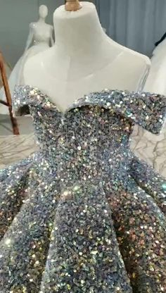 Haute Couture Silver Sequin Ball Gowns for Kids KD1006