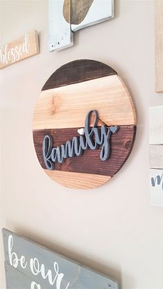 "Beautiful reclaimed wood round sign with 3D hand cut wood ""family"" LoveMadeThisDecor"