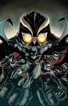 comicsforever: Batman: Night Of The Owls // artwork by Ken Hunt and Dany Morales (2012) Featuring Batgirl and The Birds! (l to r: Robin, Nightwing and Red Robin)