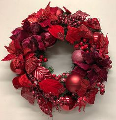 Red and burgundy wreath from Miss Haberdash at Christmas Elves. Christmas Elf, Christmas Decor, Christmas Wreaths, Elves, Burgundy, Christmas Swags, Holiday Burlap Wreath, Christmas Decorations, Wine Red Hair