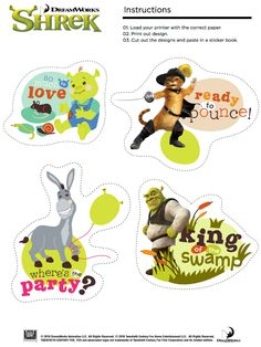 Free Printable Shrek Stickers - King of The Swamp