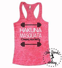 Hakuna Matata Shirt. Hakuna Matata Tank. Womens fitness Tank Top. Womens Yoga Tank Top. Workout Burnout Tank. Breast Cancer Awareness shirt.