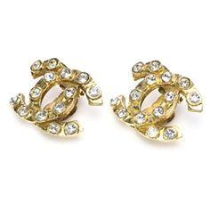 "Chanel Vintage ""CC"" Rhinestone Earrings - $239.99"